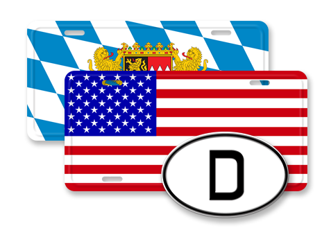 Flag License Plates/Oval ID
