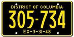 District of Columbia & Washington D.C. License Plates