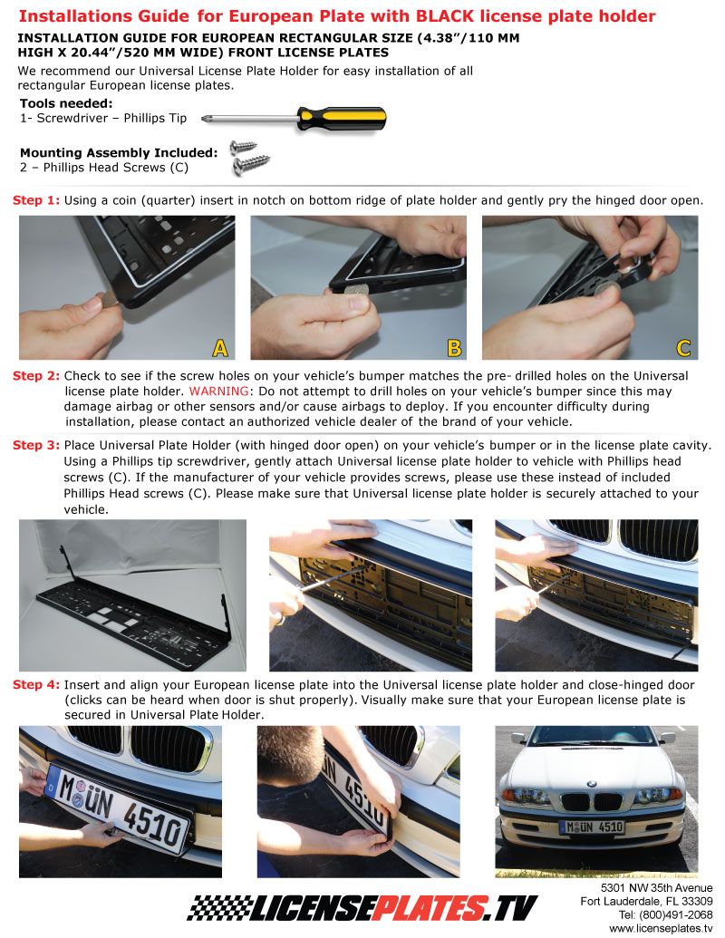 Installation Guide   European Plate Installation